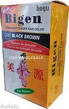 #58 Black Brown Bigen Hair Dye Powder Color No Amonia No Peroxide
