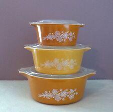 True Vintage Pyrex Butterfly Gold #2 Cinderella Casseroles 3 Pcs. With Lids