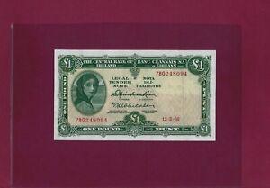IRELAND REPUBLIC 1 Pound 1966 P-63 XF-AU  KEY DATE