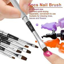 6pcs Flat Deisgn Nail Brush Nail Flat Pen UV Gel Brushes Silver H2P5