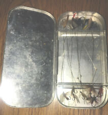 Vintage Unbranded Aluminum Fly Case With 11 Assorted Flies