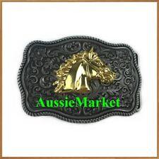 1 x mens ladies belt buckle jeans trousers pants gold horse cowboy western metal