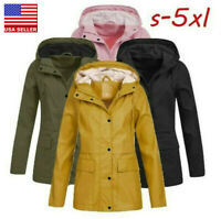 Women Ladies Hoodie Solid Rain Jacket Outdoor Waterproof Overcoat Windproof Coat