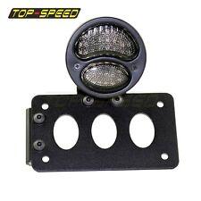 LED Model A Black Tail Light Smoke Lens License Plate Bracket Motorcycle Bobber