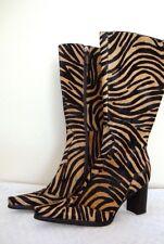 NEW BCBGirls Zebra Western Pony Hair Knee High Boots Zipper 6 1/2 $265