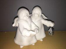 "Nib Roman, Inc White Bisque & Glitter 4"" Carolers with Lantern 29357"
