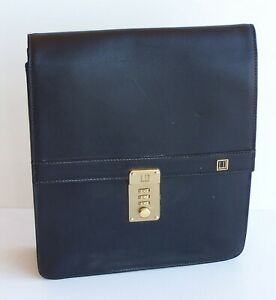 ALFRED DUNHILL FINE BLACK LEATHER LADIES HANDBAG w STRAP + LOCK BUSINESS BAG