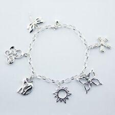 Charm bracelet 925 sterling silver hallmarked 6 designer charms rollo chain