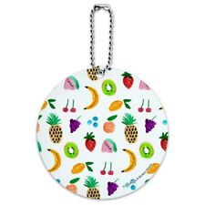 Tiny Fruits Bananas Cherries Grapes Kiwi Pineapples Round Luggage ID Tag