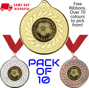 Pack of 10 x Man of the Match Medals & Any Colour Ribbons Gold Football 50mm