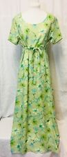 Vintage 1990 Maxi Modesty Dress Chiffon Large Floral Green