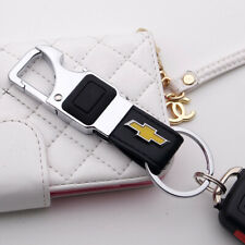 For Chevy Alloy Black Leather Keychain Ring LED Flashlight Opener Home Car Gift