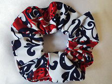 RED WHITE AND BLUE FLORAL SCRUNCHIE HAIR BOBBLE LADIES GIRLS NEW