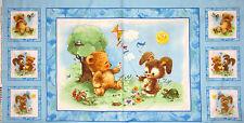 "Baby Bear Bunny Fabric ~ 100% Cotton 24"" Panel ~ Teddy Rabbit Nursery SPX Blue"