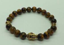 Tiger Eye 8mm Gemstone Gold Tone Buddha Bead Bracelet Healing Bracelet Mala