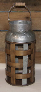 Bamboo Metal Pail FARMHOUSE RUSTIC INDUSTRIAL Galvanized Metal & Bamboo Pail New