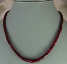 77Cts NATURAL CABOCHON RUBY BEADS NECKLACE 5MM - 3MM SINGLE STRAND FREE SHIPPING