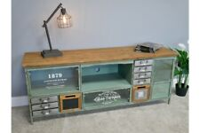 Industrial Wooden TV Cabinet With Multi Drawer Retro Style Storage Furniture