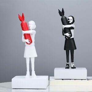Hug Bomb Girl Street Art 12.4inches Statue Banksy Sculpture Resin Luxury Decor
