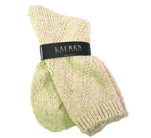 Ralph Lauren Ladies Cotton Blend Socks Boot Crew Diagonal Knit Weave Natural