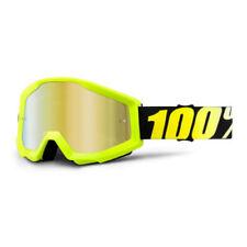 Occhiali da moto giallo motocross e quad con una cromatura/specchio