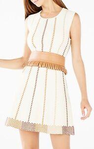 BCBG BLUSH Pink//beige Faux-Leather Corset Waist-Tie Belt S M L new