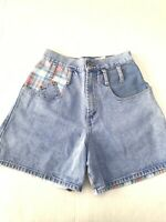 VTG Steel Jeans Denim Shorts, Size 9- Made in USA Plaid Color Block 80s 90s