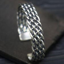 Sterling 925 Solid Silver Braided Wide Cuff Men's Biker Fashion Bracelets