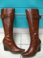 Ladies NEXT brown leather knee high wedge high heel BOOTS size UK 8 42 strap