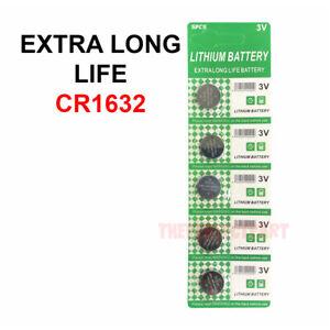 5 PACK FRESH LONG LIFE CR1632 ECR1632 1632 3V Lithium Coin Battery Expire 2025
