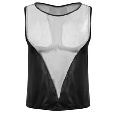 Men Faux Leather Sheer Mesh Athletic Tank Top Sports T Shirt Clubwear Costumes