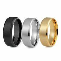 8MM Stainless Steel Men Women Wedding Engagement Black Gold Ring Band Size 6-12