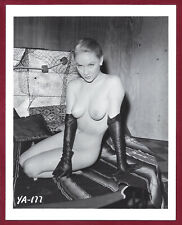 Vintage Nude Photo~Big Breasts Puffy Nips Pinup Jackie Hilton in Leather Gloves