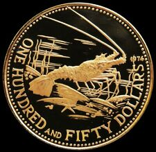 1974 GOLD BAHAMAS $150 PROOF 8.19 GRAMS PROOF SPINY LOBSTER COIN