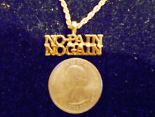 bling gold plated casino body NO PAIN NO GAIN charm rope chain hip hop necklace