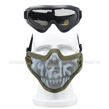 Airsoft Sports Half Face Mask Steel Wire Mesh Skull Tactical Hunting Goggles Set