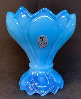 Fenton Art Glass Sky Blue Diamond Design Two Way Votive / Candle Holder