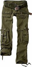 Womens Ladies Camo Plain Army Cargo Combat Casual Trousers / Pants