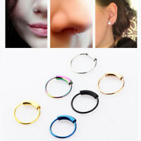 6/8/10mm Steel Septum Nose Ring Clicker Ear Tragus Helix Cartilage Hoop Piercing