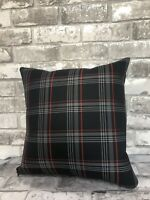 "17"" CAMPERVAN CUSHION T5 T6 T4 VW CADDY TARTAN FABRIC FAUX LEATHER NEW RED"