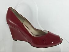 Salvatore Ferragamo Womens Red Leather Wedges 10 B