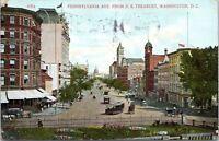 1909 WASHINGTON DC Pennsylvania Avenue Street View Trolleys Wagons Postcard CJ