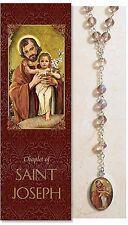 "Saint Joseph Chaplet (PS926)  (Rosary) NEW 20.75"" Long W/ Prayer Folder"