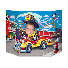 Fire Engine & Fire Fighter Photo Prop - 94 x 64cm - Fire Truck Party Decoration
