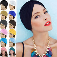 Womens Mens Stretchy Turban Head Wrap Band Chemo Bandana Hijab Pleat Indian Cap