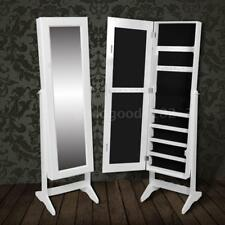 Free Standing Mirror Jewellery Cabinet Wardrobe White V2A4