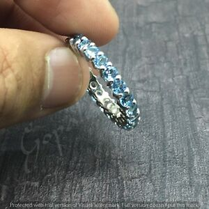 Stackable 925 Sterling Silver Swiss Blue Stone Stacking Full Eternity Band Ring