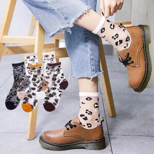 Damen Mädchen Sommer Transparent Socken Leopardenmuster Maserung Freizeit Socken