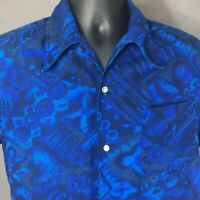 Mens Hawaiian Tapa Print Shirt Vintage M Blue Cotton Designed and Styled in CA