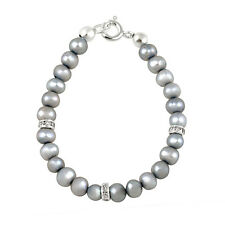 """925 Silver Gray Freshwater Cultured Pearls & CZ Baby Bracelet, 5"""""""